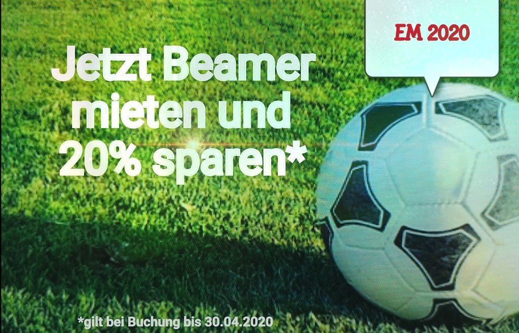 Beamer mieten und leihen in Aschaffenburg, Hanau, Miltenberg, Kahlgrund für die Fussball EM 2020 jetzt 20 Prozent sparen